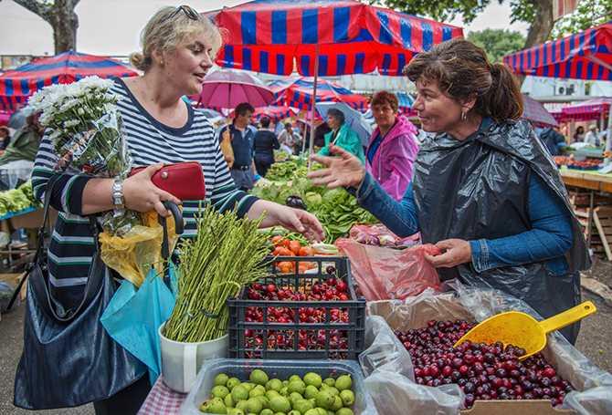 - Jag handlar alltid med blommor och grönsaker här. Det finns bättre kvalitet och lägre priser än hos stormarknaderna. Jag vet också att produkterna kommer direkt från bonden, säger Vesna Leskur-Lemo medan hon handlar av marknadsförhandlare Jase Demir.