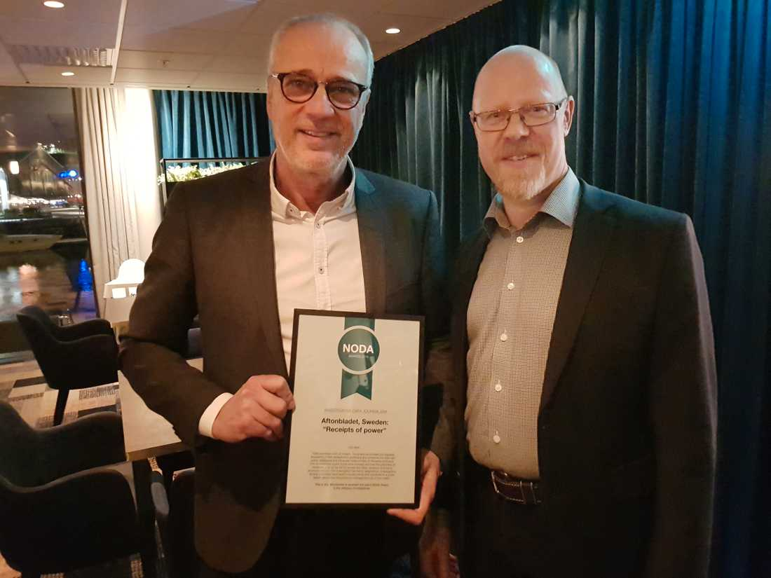 """Aftonbladets reportrar Richard Aschberg och Anders Johansson har gjort granskningen tillsammans med Mattias Sandberg. Nu vinner de ytterligare ett pris för """"Maktens kvitton""""."""