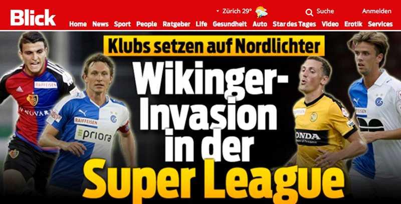 """Schweiziska Blick drar på stort med rubriken """"Viking-insasion""""."""