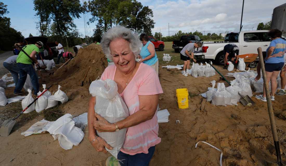 Diana Moreno boende i Louisianas huvudstad Baton Rouge vid Mississippifloden är en av många som rustar sig inför ovädret Barrys ankomst.