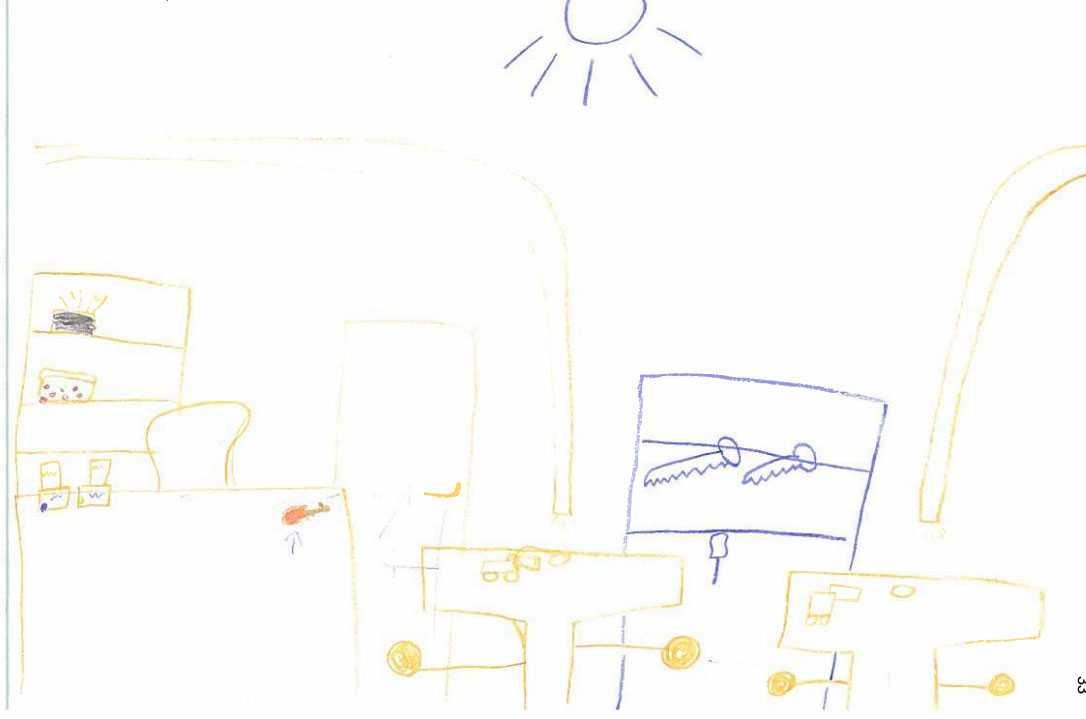 Flickans teckning över klassrummet.
