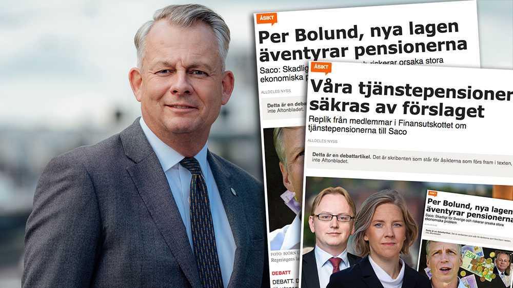 Tyvärr Fredrik Olovsson (S) och Karolina Skog (MP), ni lyckas inte stilla min eller Sacos oro. Förslaget ni vill ska bli verklighet är skadligt för Sverige och jag ber er och Per Bolund att tänka igenom förslaget en gång till, skriver Göran Arrius, Saco, i en replik om tjänstpensionerna.