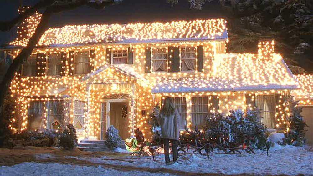"""Familjen Griswolds hus i """"Ett päron till farsa firar jul""""."""