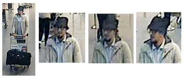 Polisens bilder från flygplatsen av den eftersökta mannen.