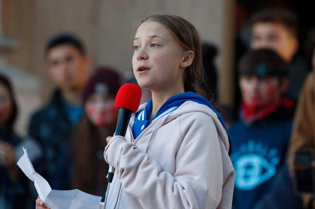 Greta Thunberg vid ett tal i den amerikanska delstaten Colorado i oktober.