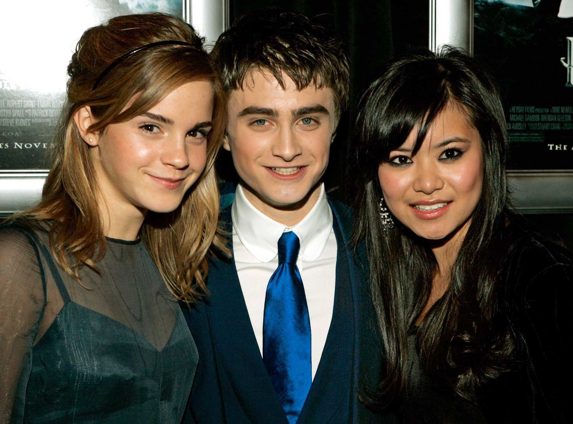 Emma Watson, Daniel Radcliffe och Katie Leung på Harry Potter-premiär 2005.