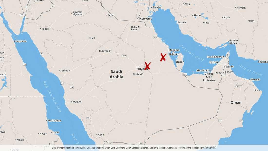 Drönarattackerna genomfördes mot två oljeanläggningar i östra Saudiarabien.