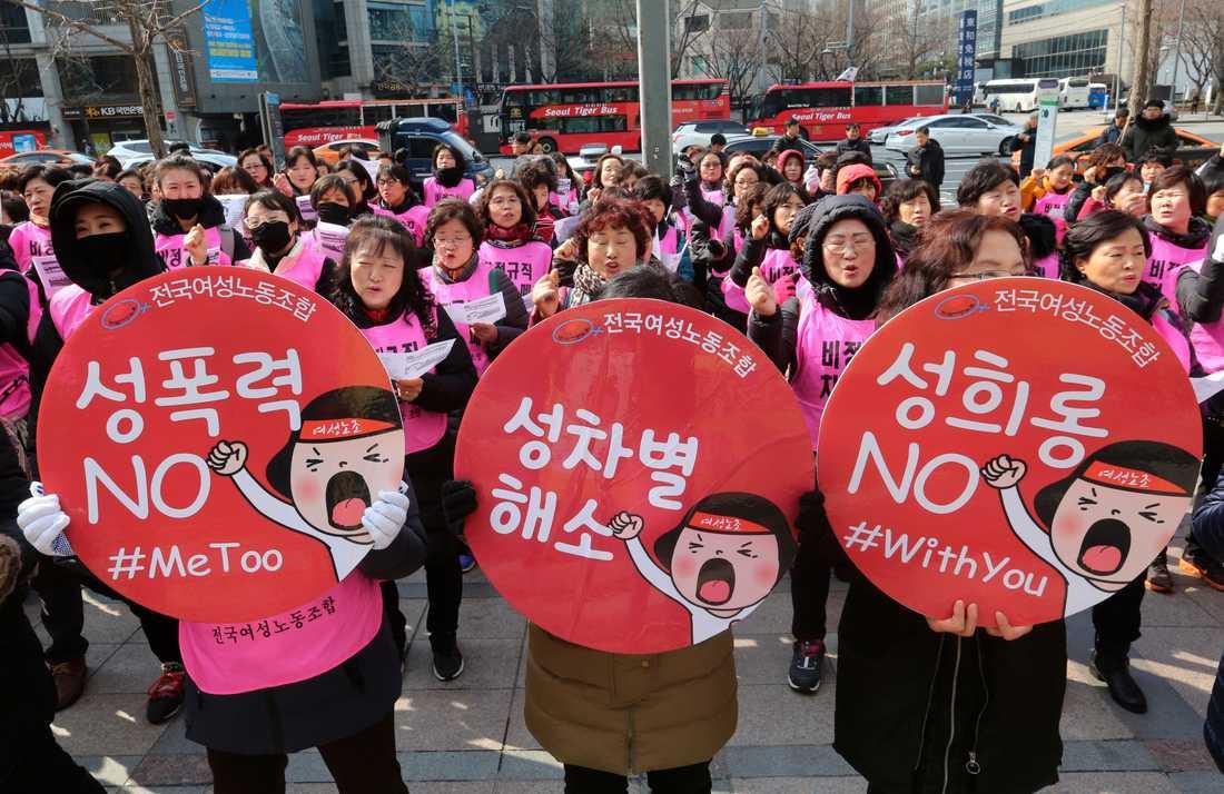 Demonstranter i Sydkorea kräver stopp för sexuellt våld under en manifestation under 8 mars i år. Arkivbild