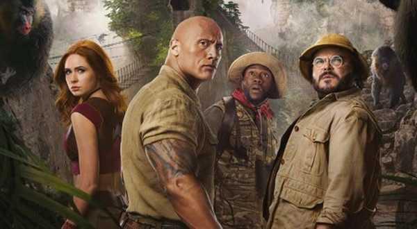 "Karen Gillan, Dwayne Johnson, Kevin Hart och Jack Black i ""Jumanji: The next level""."