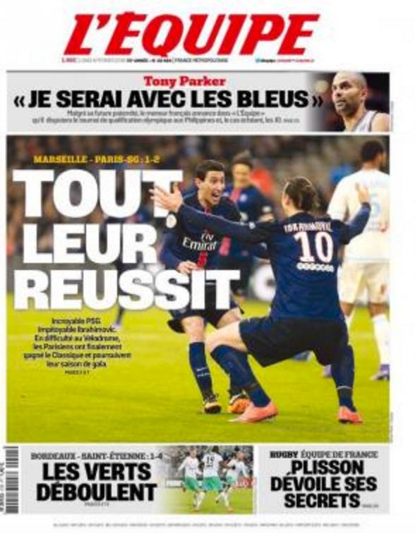 """l'Equipe i dag. """"De lyckas med allt""""."""