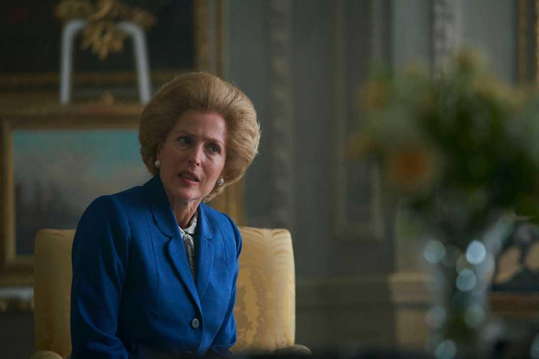 "Gillian Anderson som Margaret Thatcher i ""The crown""."