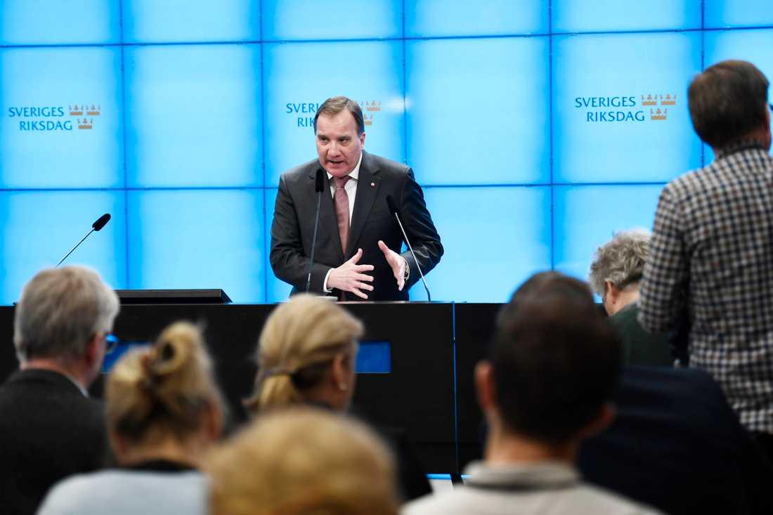 Stefan Löfven håller presskonferens efter mötet med talmannen