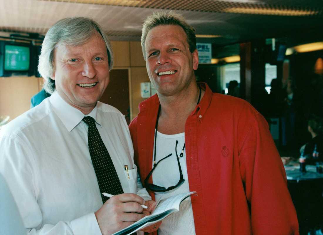 Hästägaren Lennart Bäwerholm och Frank Andersson under Elitloppet på Solvalla 1998.