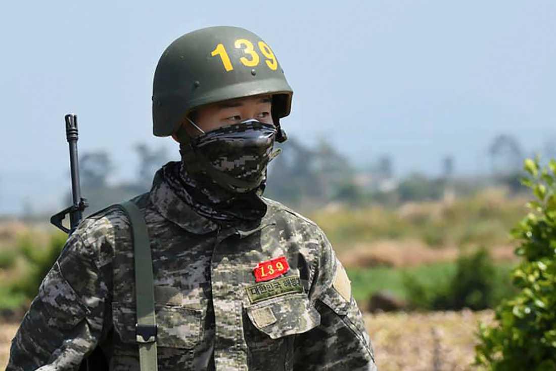 Tottenham-stjärnan Heung Min-Son under sin militärtjänstgöring i Sydkorea.