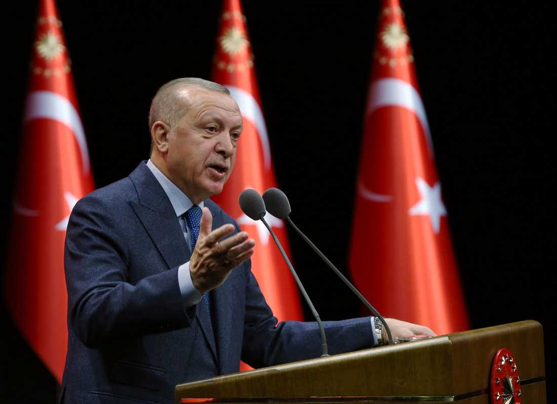 Turkiets president Recep Tayyip Erdogan under ett tal i Ankara i tisdags.