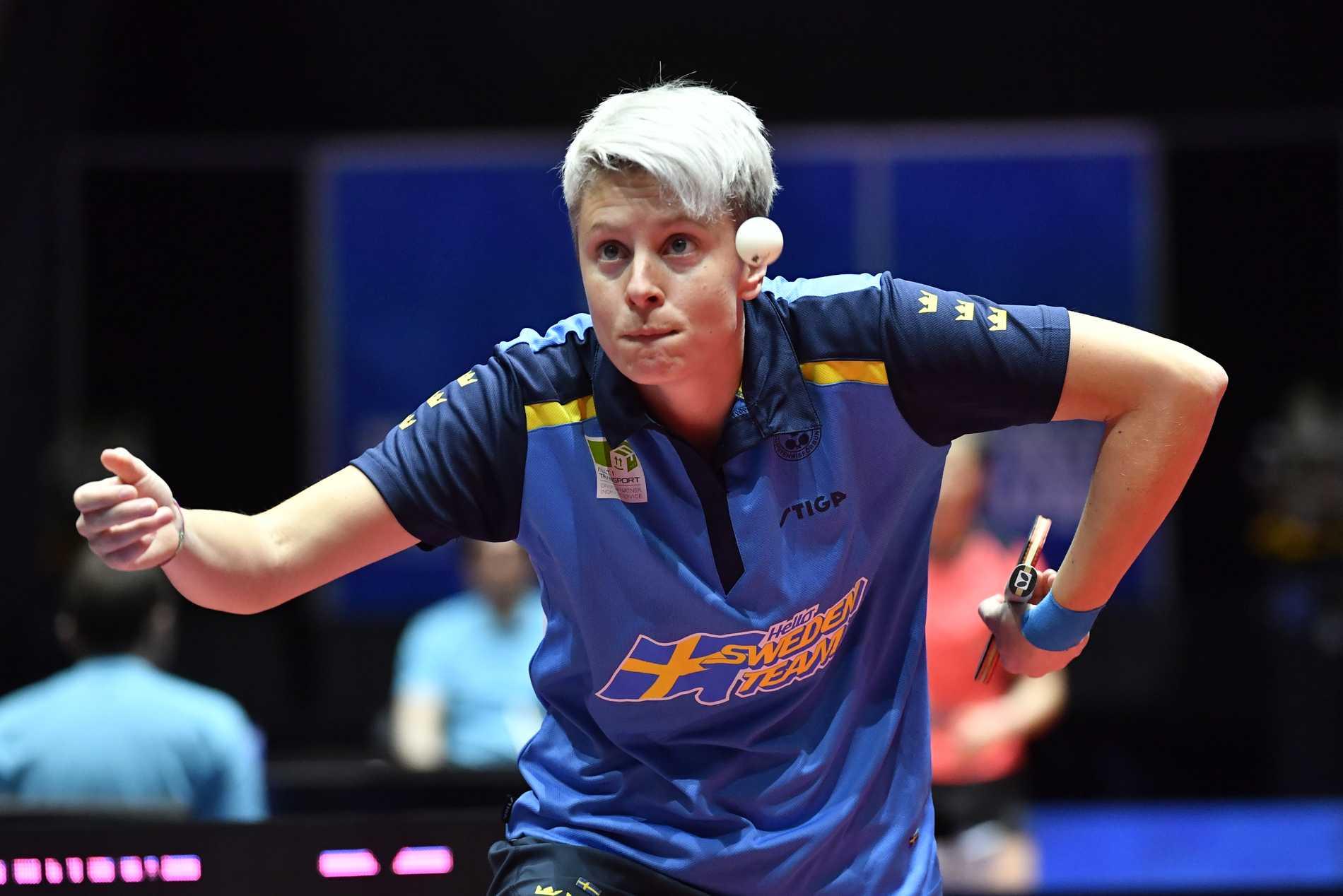Matilda Ekholm (bilden) och Stina Källberg vann dubbelmatchen mot Indien, men Sverige förlorade med 2–3 och missar lagturneringen i OS i Tokyo. Arkivbild.