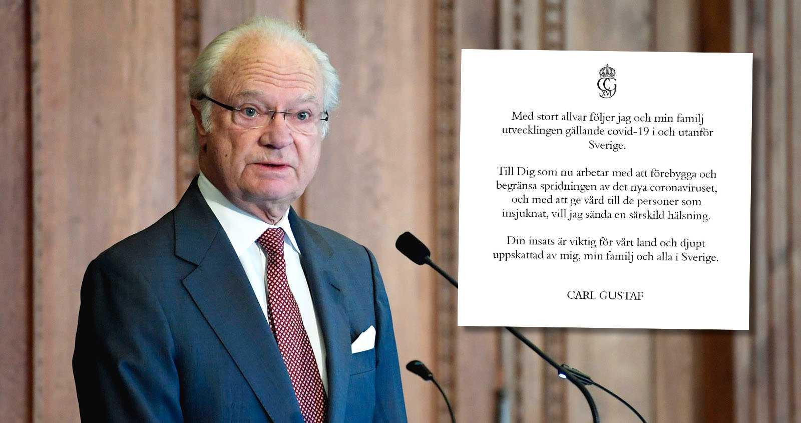 Kungen tackar Sveriges vårdpersonal