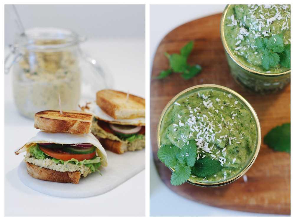 Macka med hummus och grön smoothie.