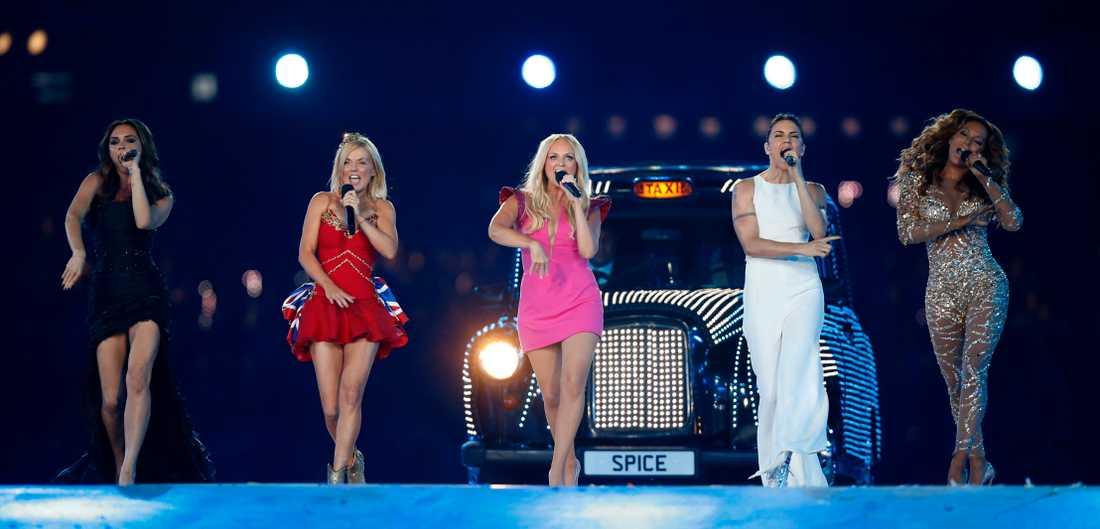 Hela Spice Girls när de uppträdde under OS i London 2012. Arkivbild.