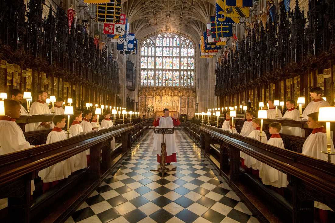 Kören i St. George's Chapel repeterar inför bröllopet mellan prins Harry och Meghan Markle.