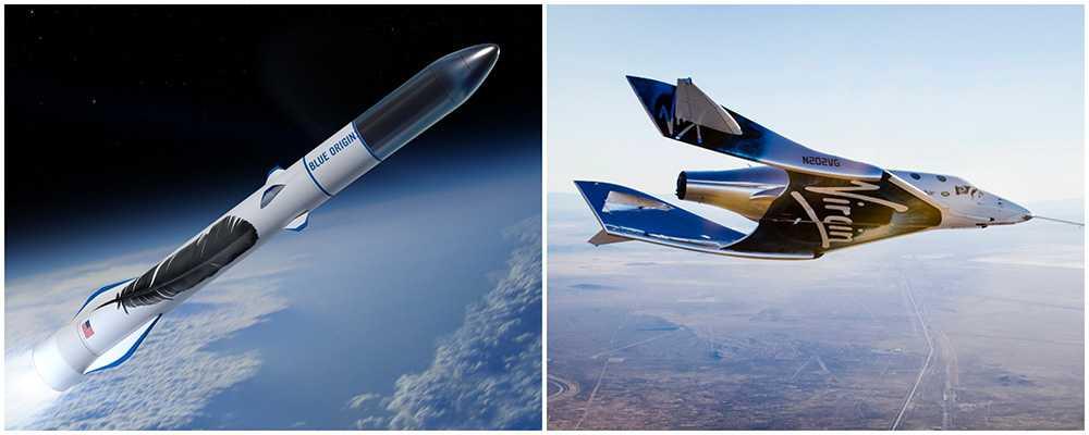 Virgin Galactic och Blue Origin tävlar om vem som först kan ta med turister på en rymdresa.