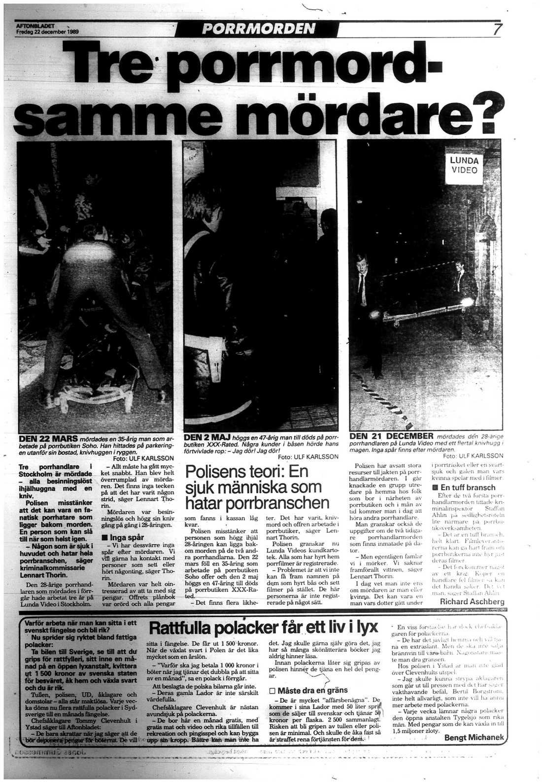 """I den här artikeln från december 1989 står att läsa om polisens teori att mördaren är en """"sjuk människa som hatar porrbranschen""""."""