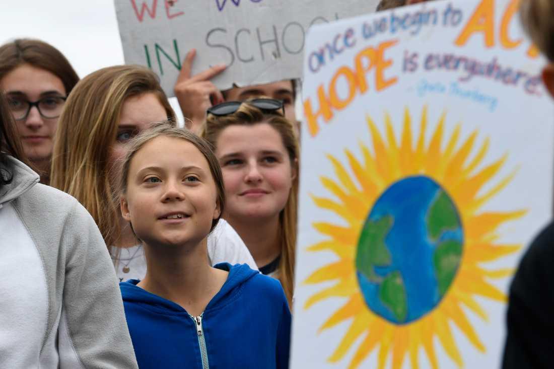 Den svenska aktivisten Greta Thunberg vid en klimatprotest utanför Vita huset i Washington DC tidigare i september.