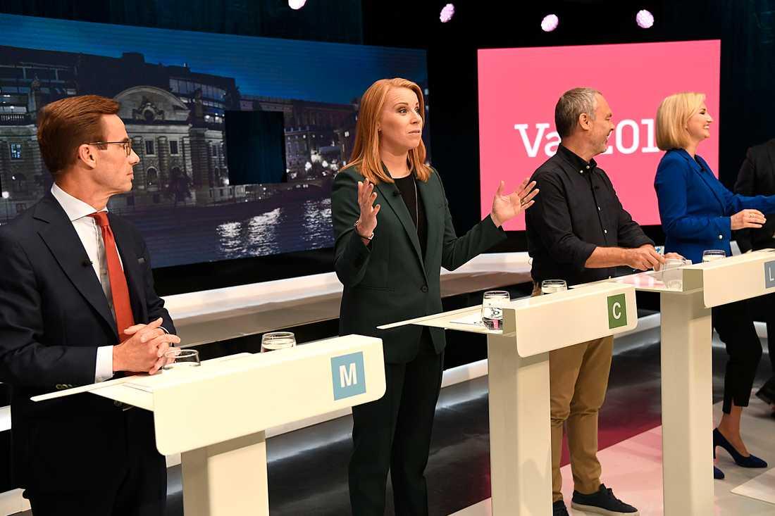 Ulf Kristersson, Annie Lööf, Jan Björklund och Ebba Busch Thor i SVT:s valdebatt.