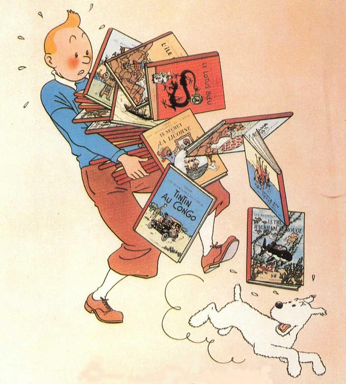 Tintin med sin hund Milou.