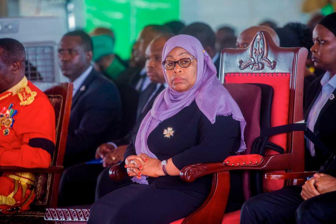 Samia Suluhu Hassan under sin företrädare John Magufulis begravning i slutet av mars.