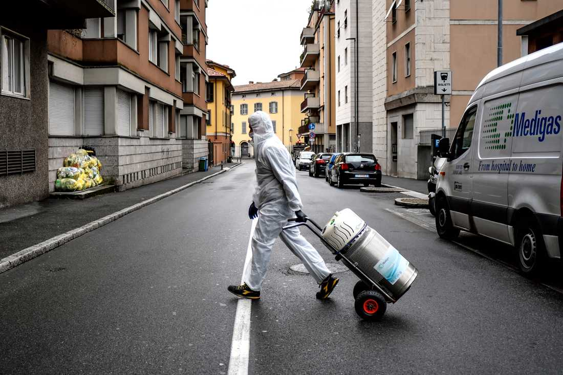 Medicinsk syrgas levereras till patienter i Bergamo. Arkivbild.
