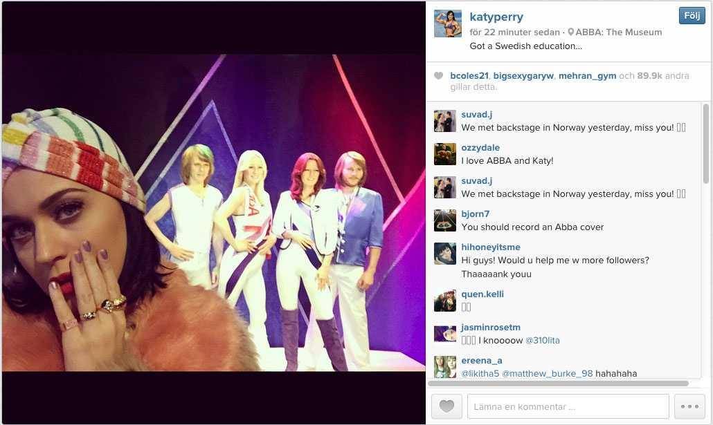 Katy Perry på Abba-museet. Faksimil från Katy Perrys Instagram.