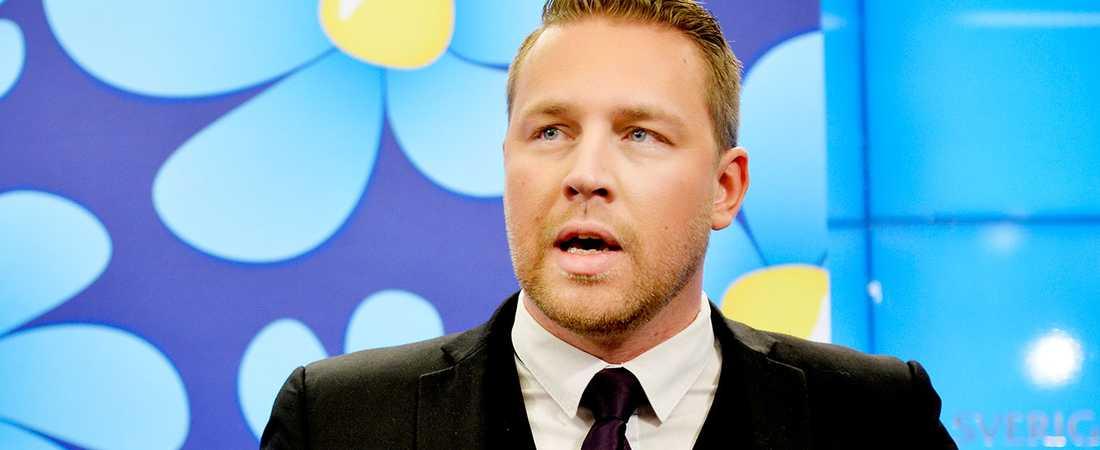 "Sverigedemokrateras Mattias Karlsson frågades ut i SVT:s program ""Partiledaren""."
