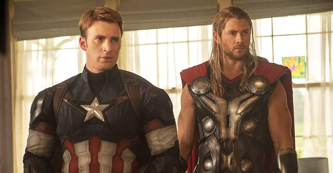 Captain America (Evans) och Thor (Hemsworth).