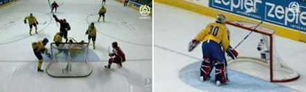 Ryssland avgör – och Henrik Lundqvist avreagerar sig genom att slå av målvaktsspaden mot ribban.