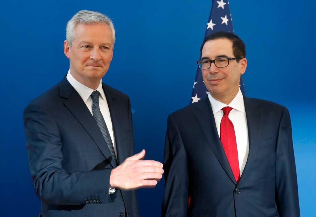 Frankrikes finansminister Bruno Le Maire och den amerikanske kollegan Steven Mnuchin ska diskutera beskattning av digitala tjänster på Davosmötet i Schweiz. Arkivbild