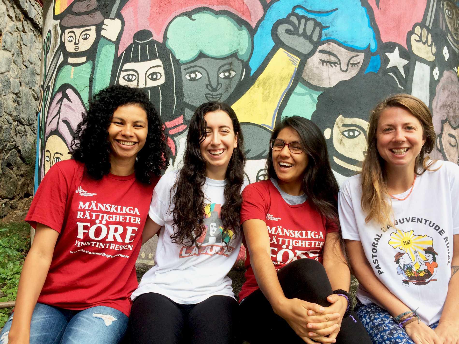 Latinamerikagruppen anordnar praktikantresor till Latinamerika. Här är Elma Silva, Evelina Sartori Valck, Sandra Ilave  och Linn O'Connell.