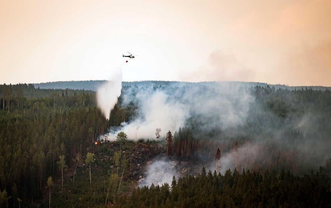 Vattenbombningar Ängeråns naturreservat under måndagskvällen.