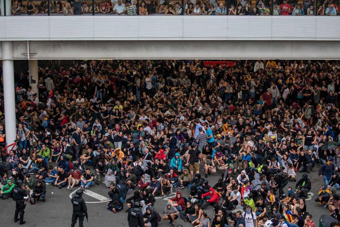 Protester i Barcelona.