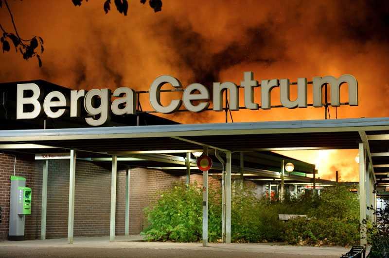 22.20 kom larmet om en brand i Berga Centrum i Kalmar.