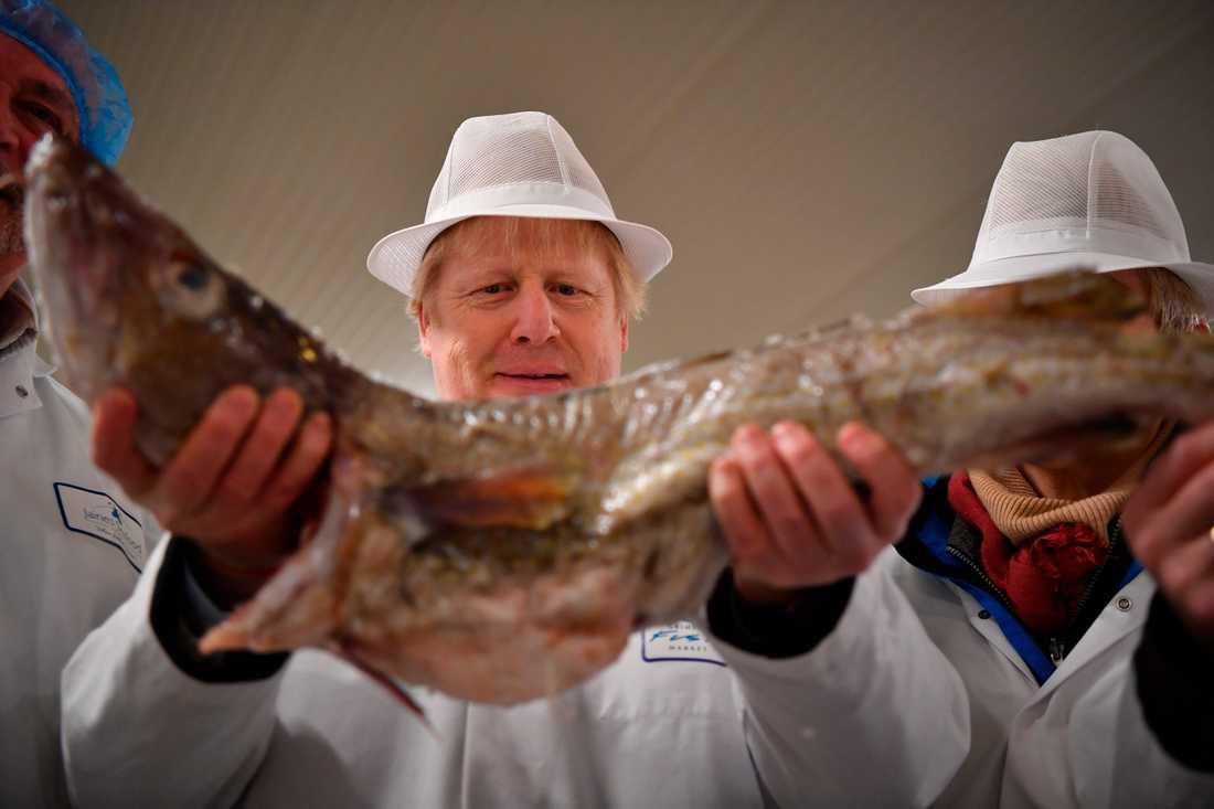 Storbritanniens premiärminister Boris Johnson besöker fiskmarknaden i Grimsby under sin valturné.