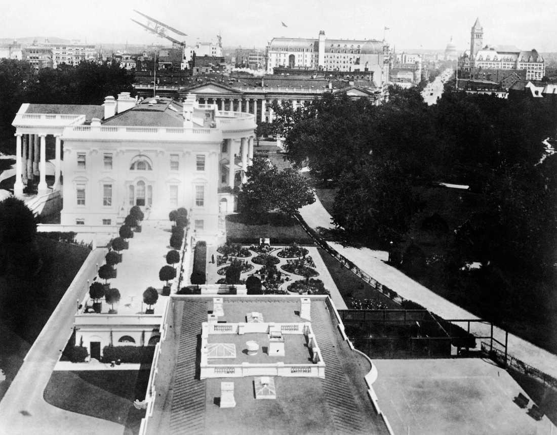 Så här såg Vita huset, med Norra portiken till vänster, ut 1924.