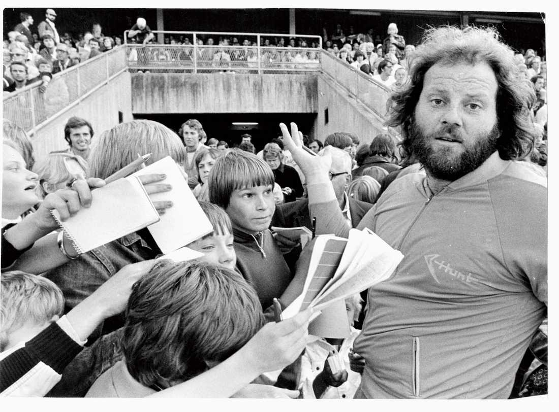 Jagad av autografjägare 1977.