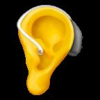 Öra med hörapparat.