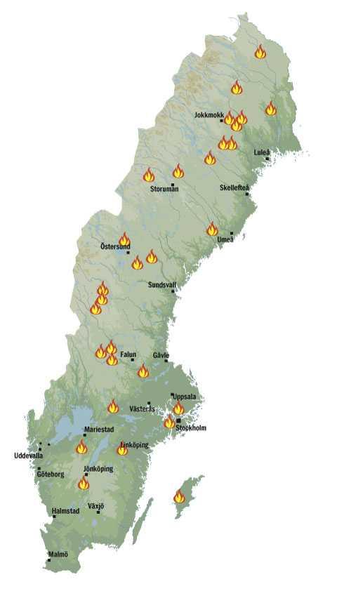 Här brinner det i Sverige den 19 juli.