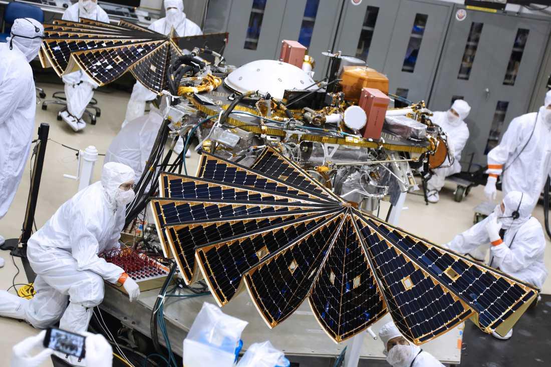 Tekniker inspekterar Insights landare under ett test på Jorden.