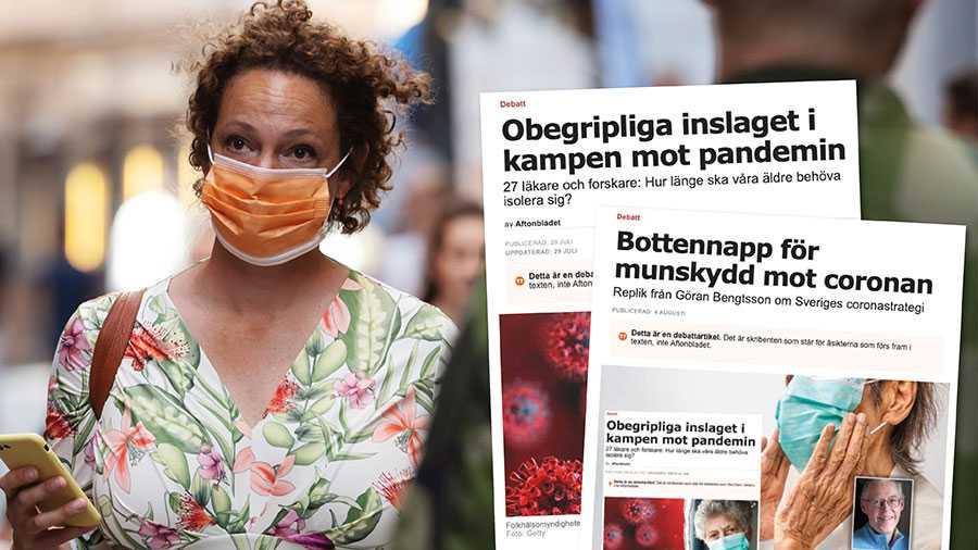 Vi uppmanar Folkhälsomyndigheten och regeringen att ändra sig om munskydd. Det skulle bidra till att häva den isolering som många lever under, förhindra smittspridning och rädda liv, skriver fyra forskare och läkare i en slutreplik.
