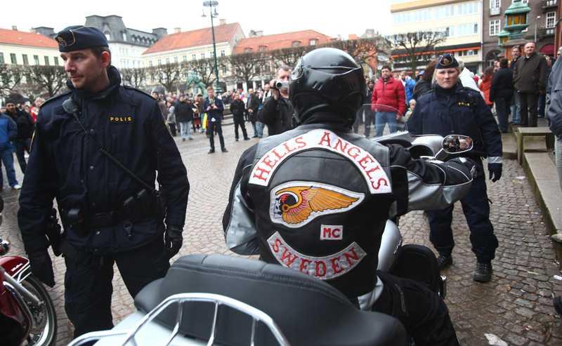 Medlemmar ur Hells Angels dök upp under manifestationen i Landskrona.