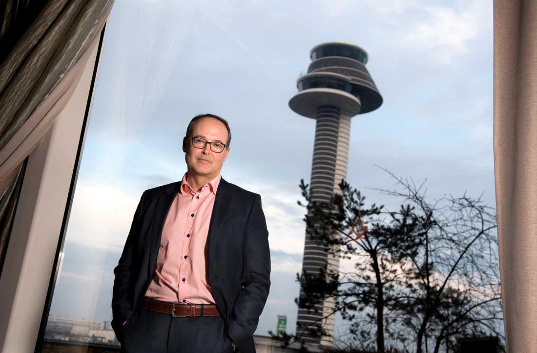 Jonas Abrahamsson, vd för Swedavia, tror att en återhämtning av flygtrafiken kommer att ta tid. Arkivbild.