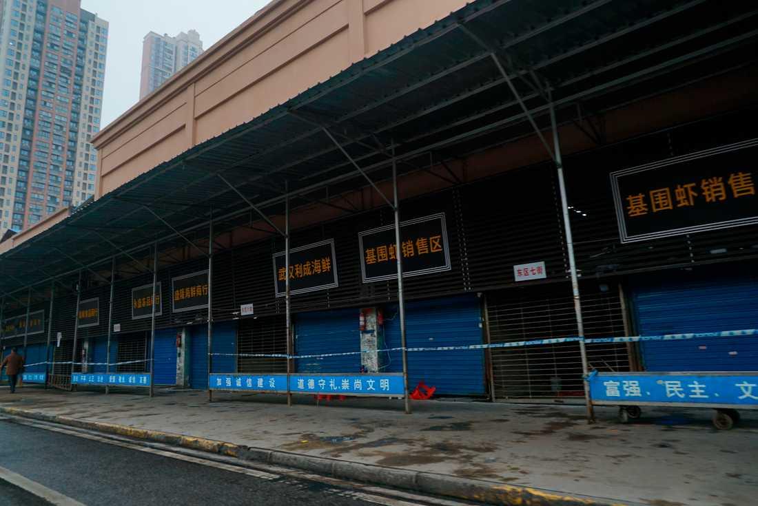 Döda och levande djur har saluförts på fiskmarknaden Huanan i mångmiljonstaden Wuhan. Men nu är den stängd på grund av virusutbrottet som tros ha sitt ursprung här.